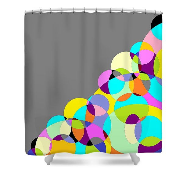 Grey Multicolored Circles Abstract Shower Curtain