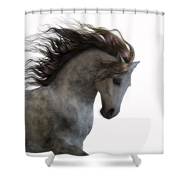 Grey On White Shower Curtain