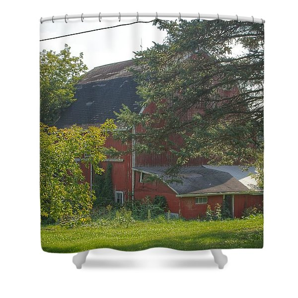 0015 - Grey Road Red I Shower Curtain