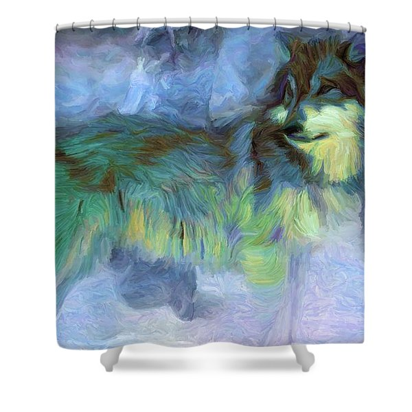 Grey Wolves In Snow Shower Curtain