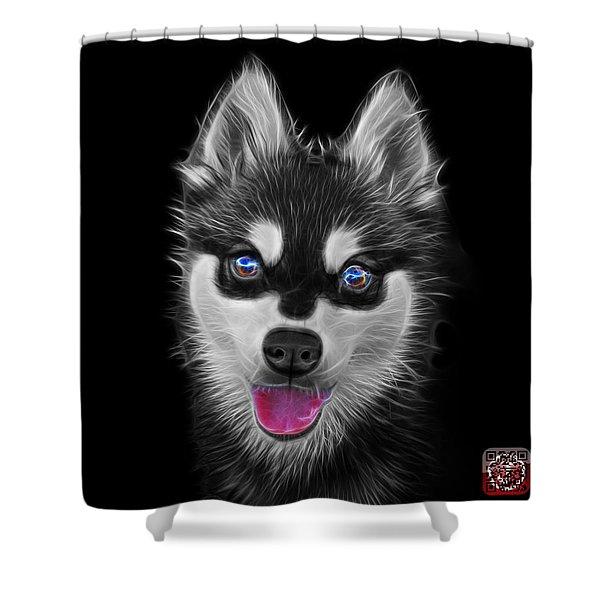 Greyscale Alaskan Klee Kai - 6029 -bb Shower Curtain