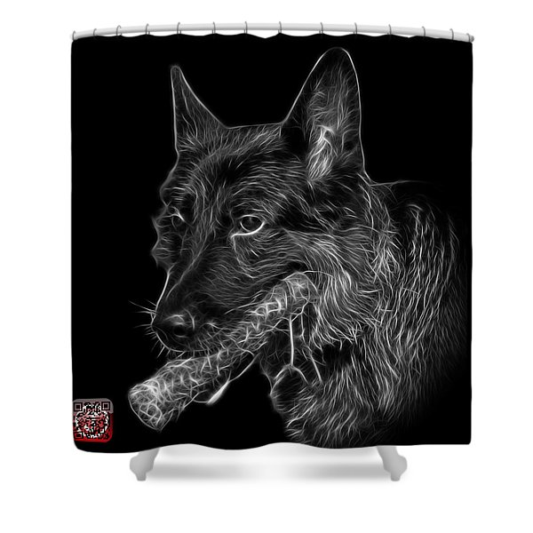 Greyscale German Shepherd And Toy - 0745 F Shower Curtain