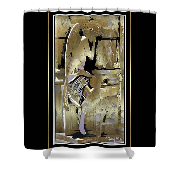 Grief Angel - Black Border Shower Curtain