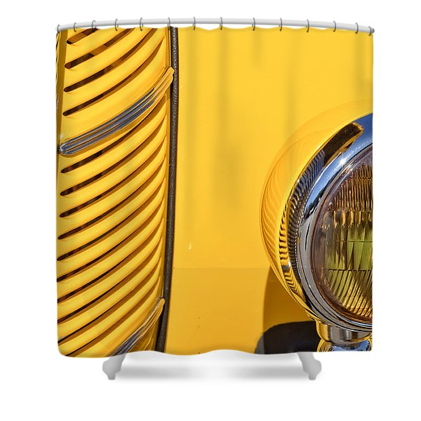 Grilled Chrome To Yellow Shower Curtain