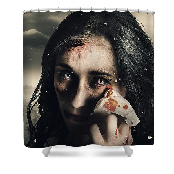 Grim Face Of Horror Crying Tears Of Blood Shower Curtain