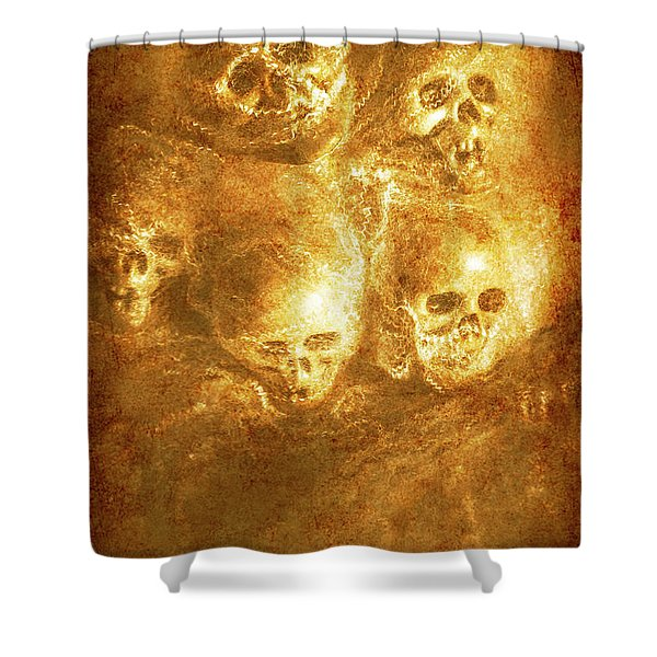 Grim Tales Of Burning Skulls Shower Curtain