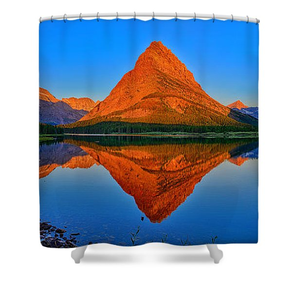 Grinnell Point Alpenglow Panorama Shower Curtain