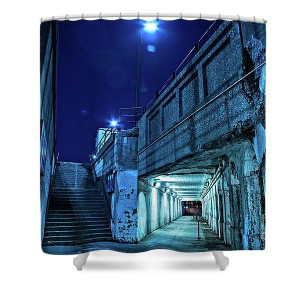 Gritty Dark Chicago City Street Under Industrial Bridge Viaduct At Night Shower Curtain