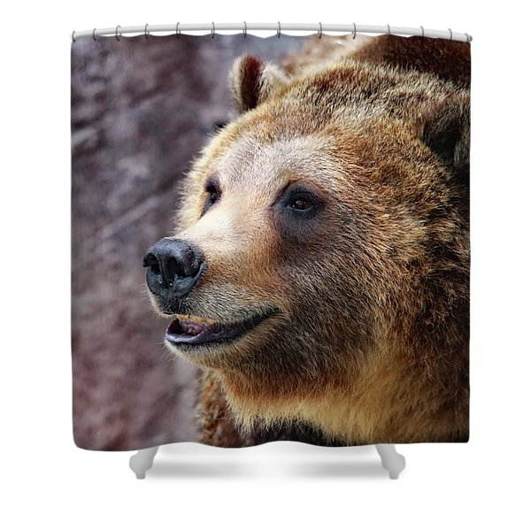 Grizzly Smile Shower Curtain