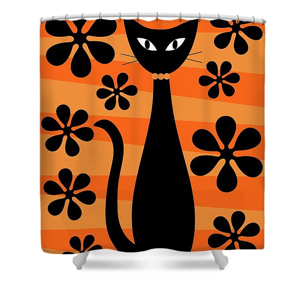 Groovy Flowers With Cat Orange And Light Orange Shower Curtain