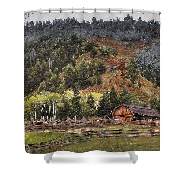 Gros Ventre River Ranch Shower Curtain