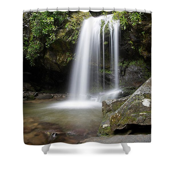 Shower Curtain featuring the photograph Grotto Falls Vertical by Jemmy Archer