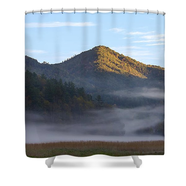 Shower Curtain featuring the photograph Ground Fog In Cataloochee Valley - October 12 2016 by D K Wall