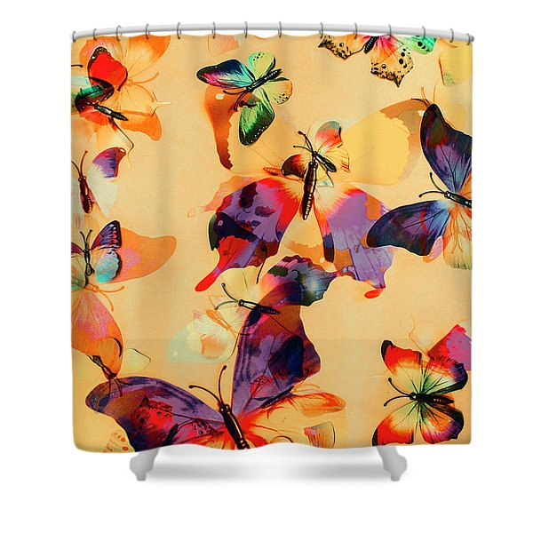 Group Of Butterflies With Colorful Wings Shower Curtain