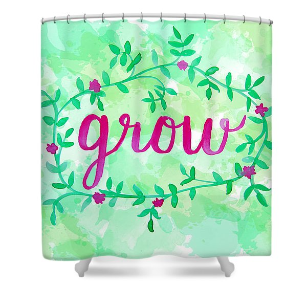 Grow Watercolor Shower Curtain