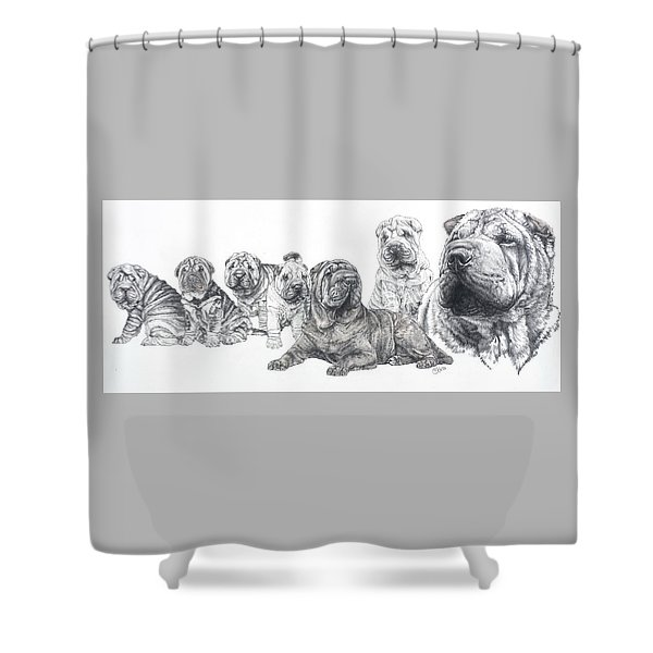 Shower Curtain featuring the drawing Mister Wrinkles And Family by Barbara Keith