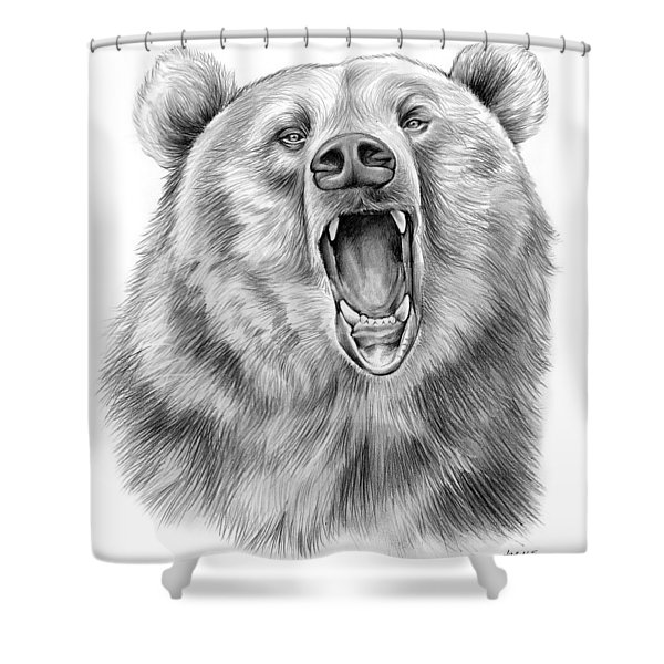 Growling Bear Shower Curtain