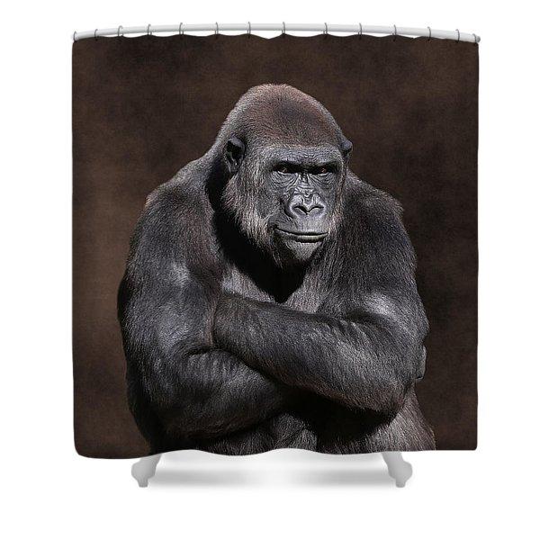 Grumpy Gorilla Shower Curtain