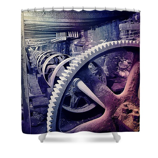 Shower Curtain featuring the photograph Grunge Large Gear by Robert G Kernodle