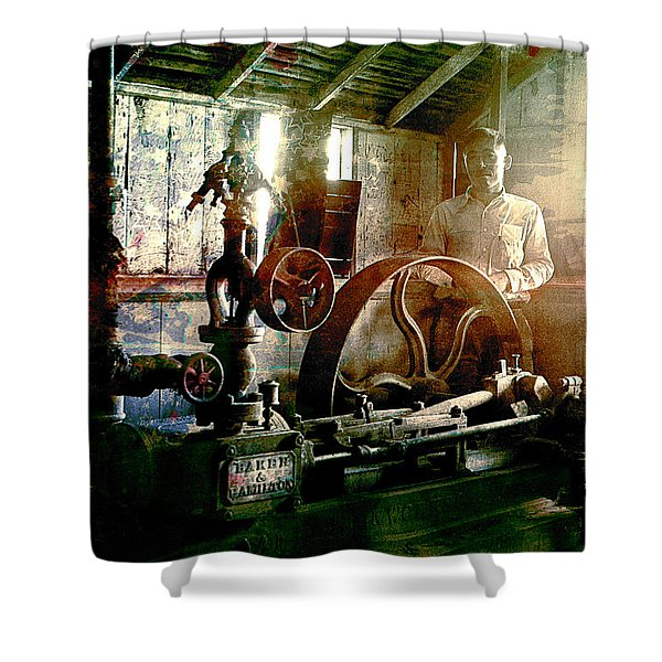 Shower Curtain featuring the photograph Grunge Meyer Mill by Robert G Kernodle