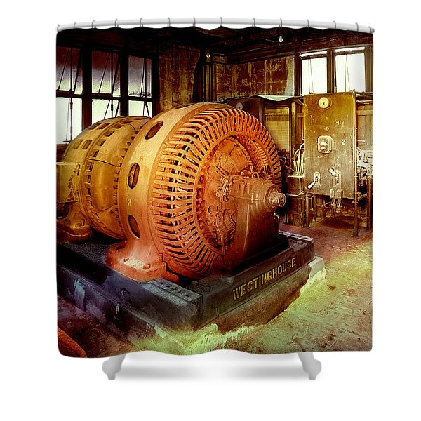 Shower Curtain featuring the photograph Grunge Motor Generator by Robert G Kernodle