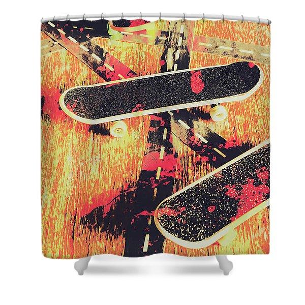 Grunge Skate Art Shower Curtain