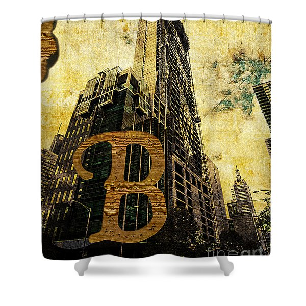 Grungy Melbourne Australia Alphabet Series Letter B Central Busi Shower Curtain