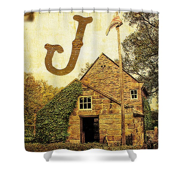 Grungy Melbourne Australia Alphabet Series Letter J Captain Jame Shower Curtain