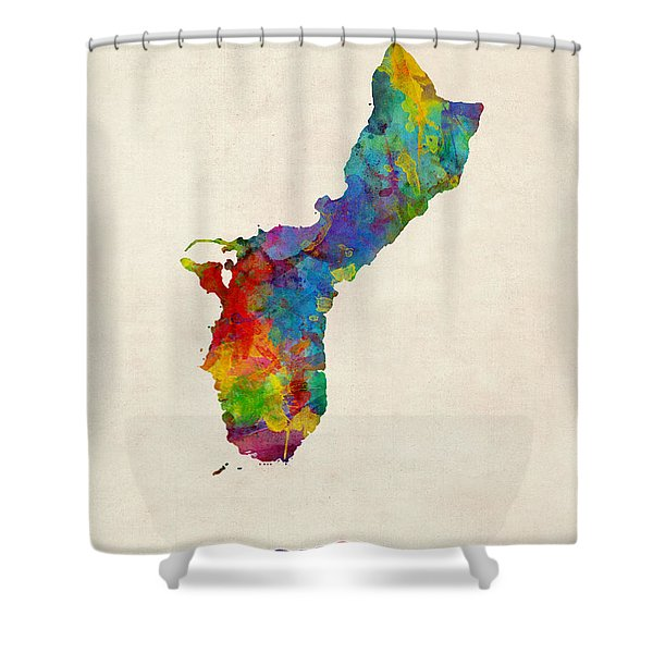 Guam Watercolor Map Shower Curtain