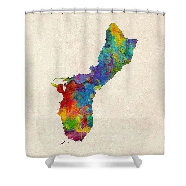 Guam Watercolor Map Shower Curtain