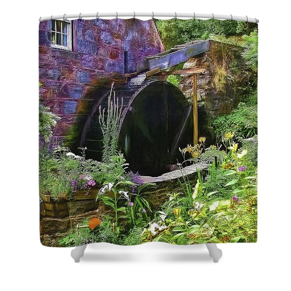 Guernsey Moulin Or Waterwheel Shower Curtain
