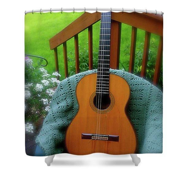 Guitar Awaiting Shower Curtain