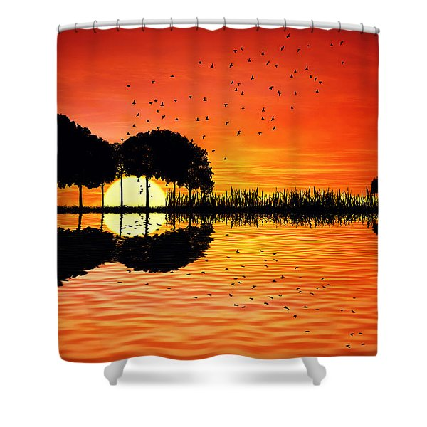 Guitar Island Sunset Shower Curtain