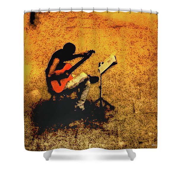 Guitar Player In Arles, France Shower Curtain