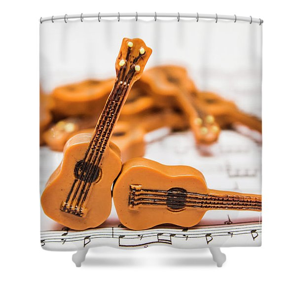 Guitars On Musical Notes Sheet Shower Curtain