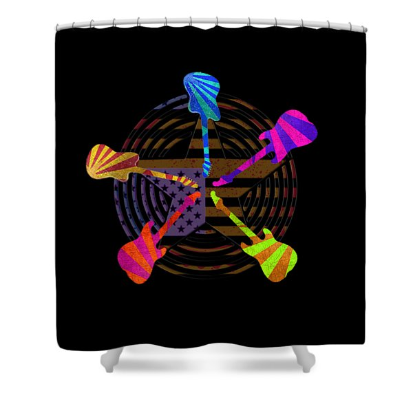 Guitars Stars And Stripes  Shower Curtain