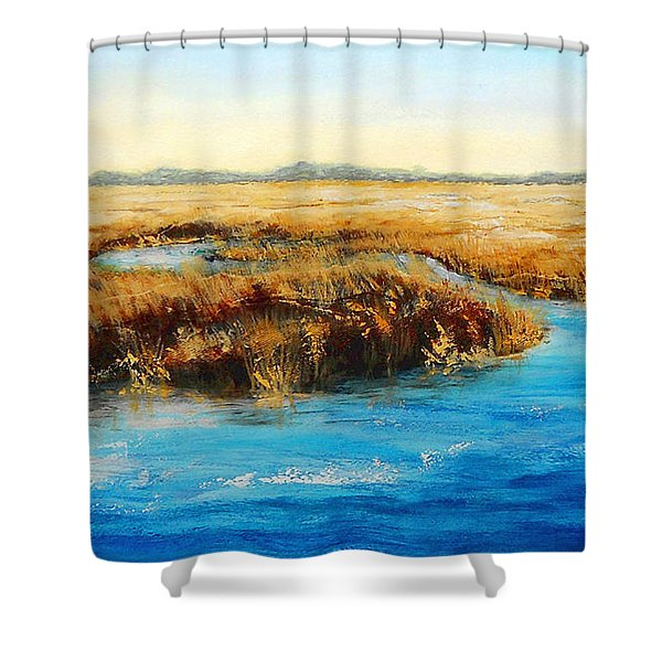 Shower Curtain featuring the painting Gulf Coast Marsh I Original Fine Art Painting by G Linsenmayer