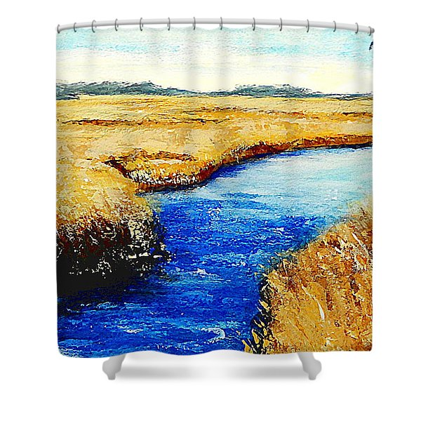 Shower Curtain featuring the painting Gulf Coast Marsh II Detail Original Fine Art Painting by G Linsenmayer