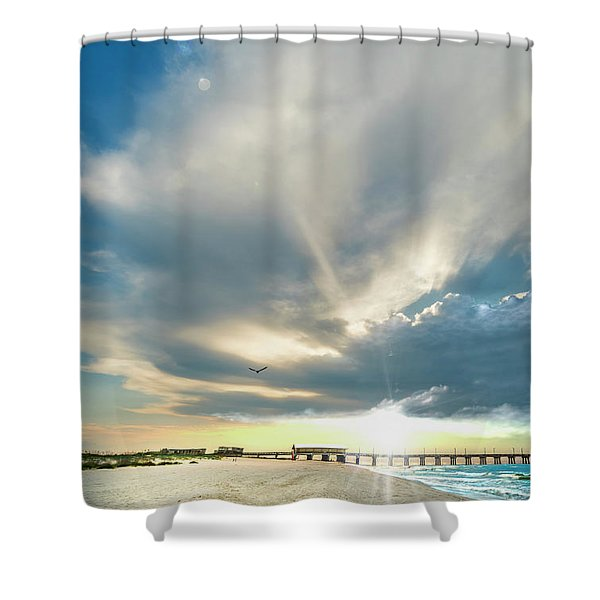Gulf Shores Al Pier Seascape Sunrise 152a Shower Curtain