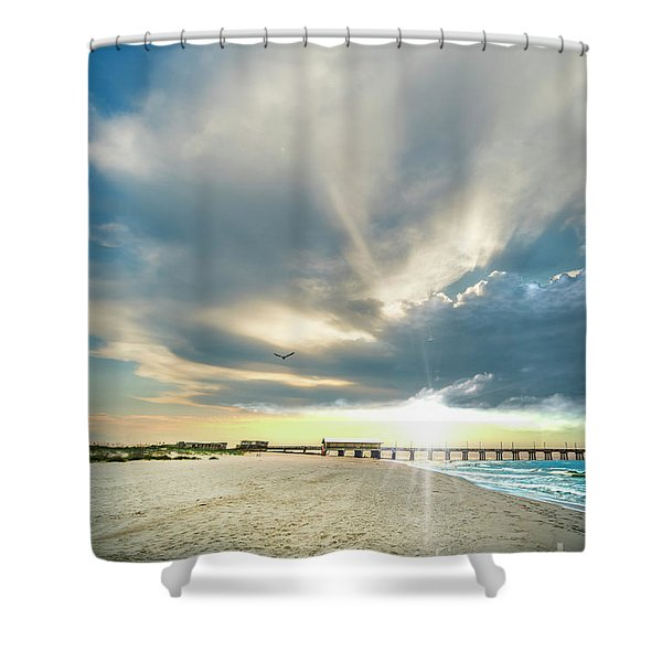 Gulf Shores Al Pier Seascape Sunrise 152a Shower Curtain