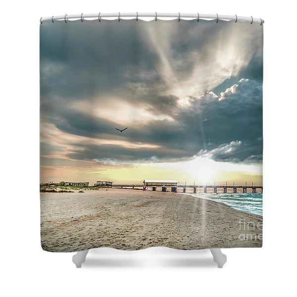 Gulf Shores Al Pier Seascape Sunrise 152c Shower Curtain