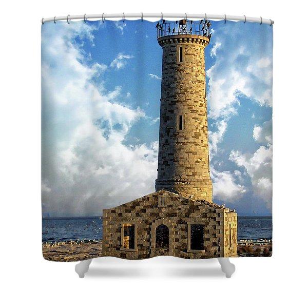 Gull Island Lighthouse Shower Curtain