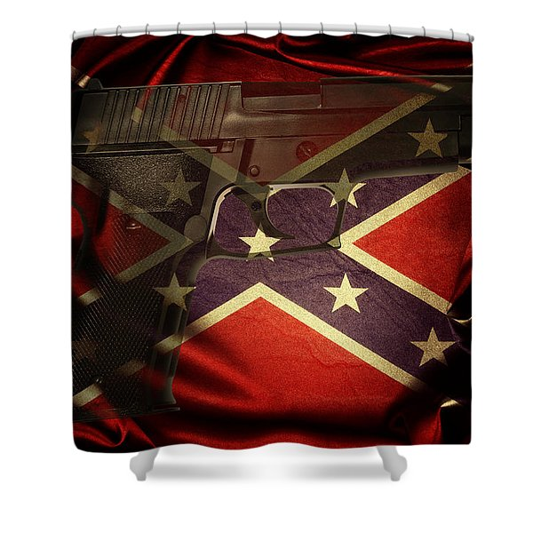 Gun And Confederate Flag Shower Curtain