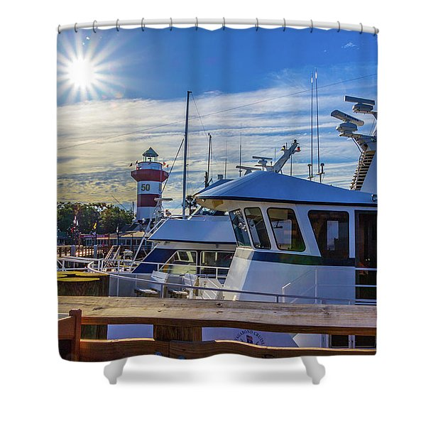 Habour Town Lighthouse And Marina Shower Curtain