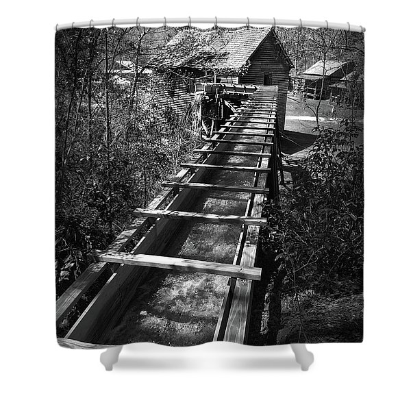 Hagood Gristmill Waterwheel At Hagood Mill Shower Curtain