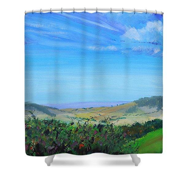 Haldon Hills Sea View Shower Curtain
