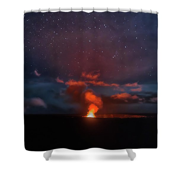 Halemaumau Crater At Night Shower Curtain
