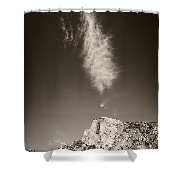 Shower Curtain featuring the photograph Half Dome And Cloud by Bryan Mullennix