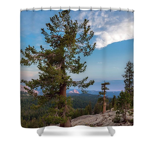 Half Dome Through The Trees Shower Curtain