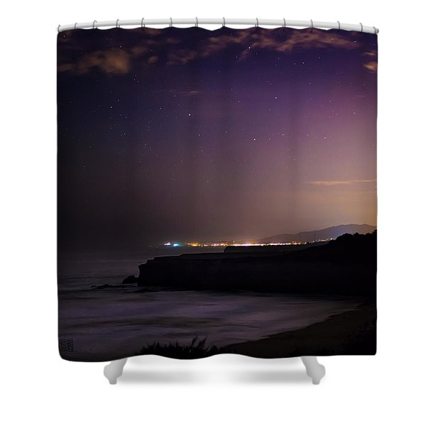 Half Moon Bay Aglow Shower Curtain
